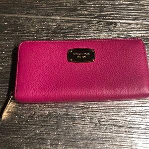 Michael Kors Pink Leather Zipper Wallet